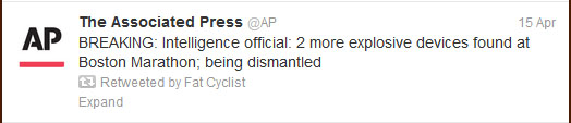 soon after the Boston Marathon bombings occurred, the Associated Press got in the game and started reporting the facts