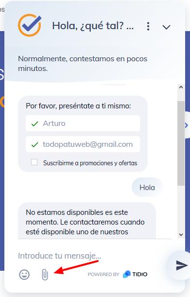 chat html cargar archivos