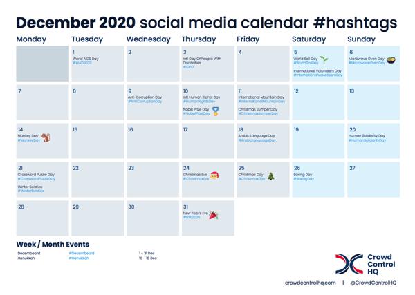 January 2020 Social Media Calendar Content & #Hashtag Ideas