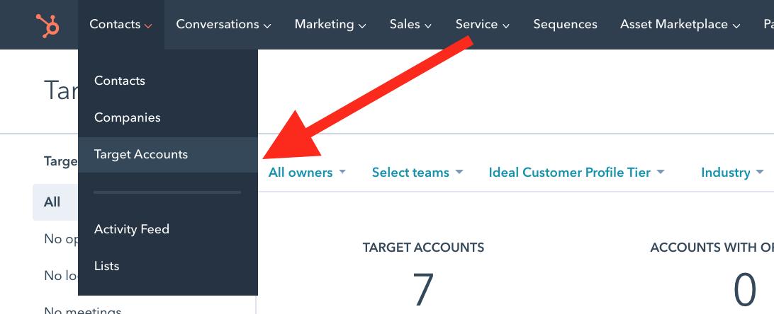 Screenshot of target account dashboard in HubSpot