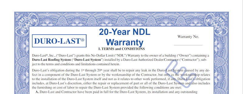Duro-Last Roofing Warranty