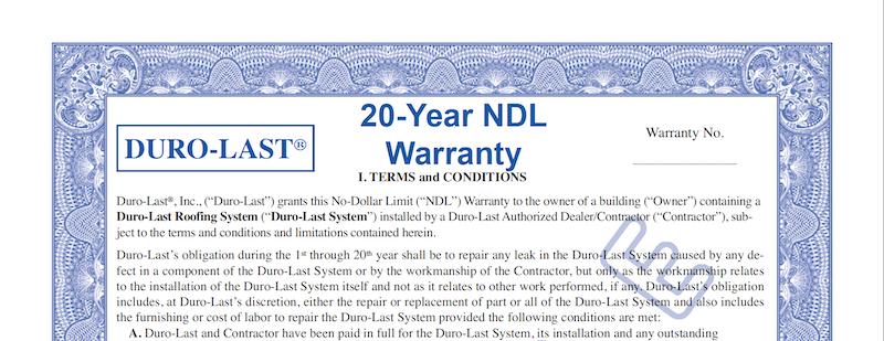Duro-Last Roofing Warranty