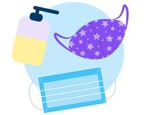 !Illustration Bank - July_Health and Safety - 2 masks and a hand sanitizer bottle