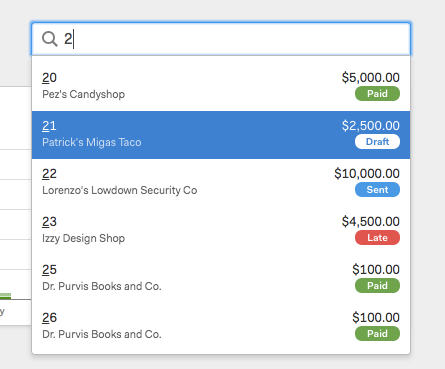 invoice status in search