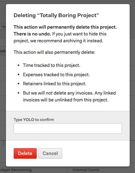 Delete project modal