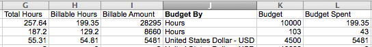 Budget By Column in Projects Export