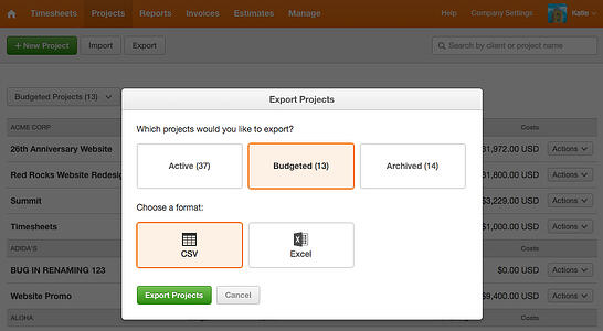 Export Projects with Budget
