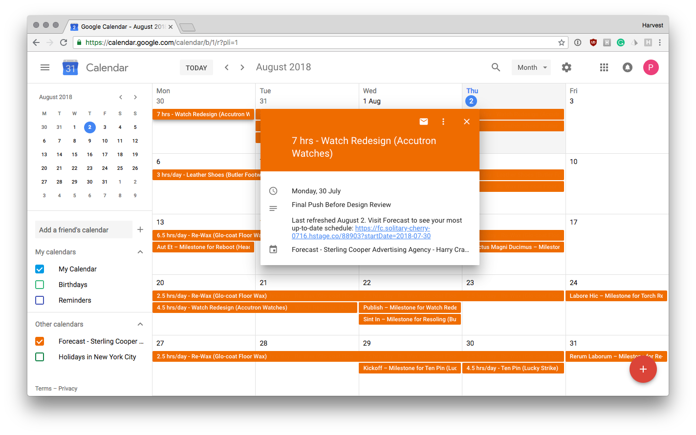Google Calendar with Forecast Schedule