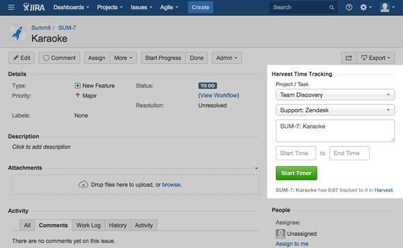 JIRA Widget for Platform page