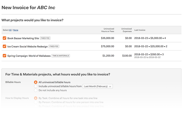 image of Harvest invoicing, project selection step
