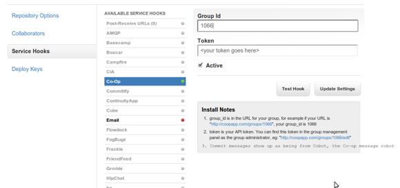 GitHub Co-op service hook