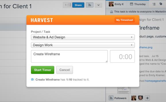 Harvest time tracking for Asana