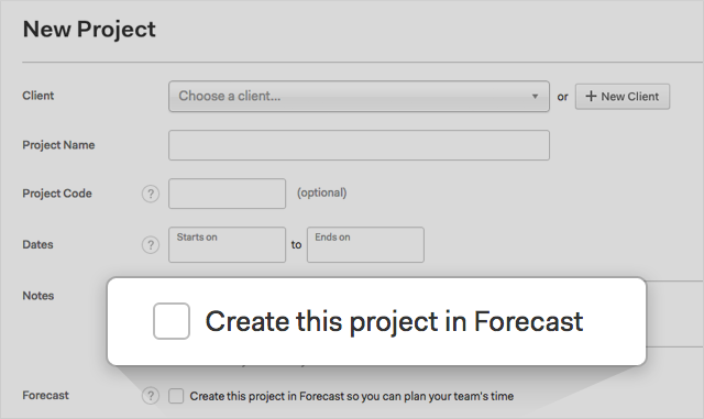Create this project in Forecast