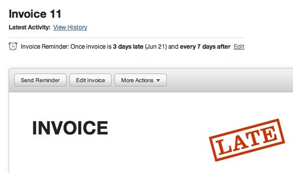 Automatic recurring late invoice reminder screenshot