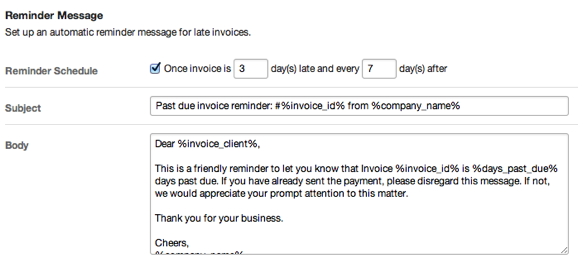 Automatic recurring late invoice reminder setting screenshot