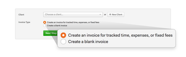 image of Harvest's Invoice Type, with fixed fee option highlighted