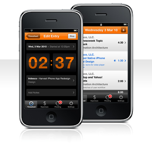Harvest Time Tracking Expense Tracking iPhone App