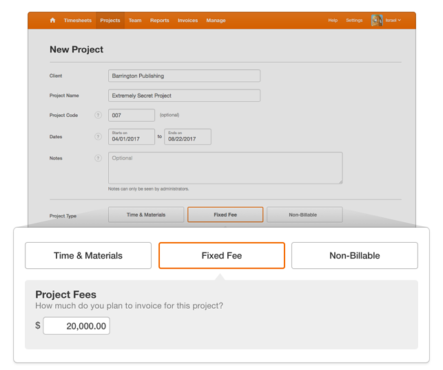 fixed fee project type selector