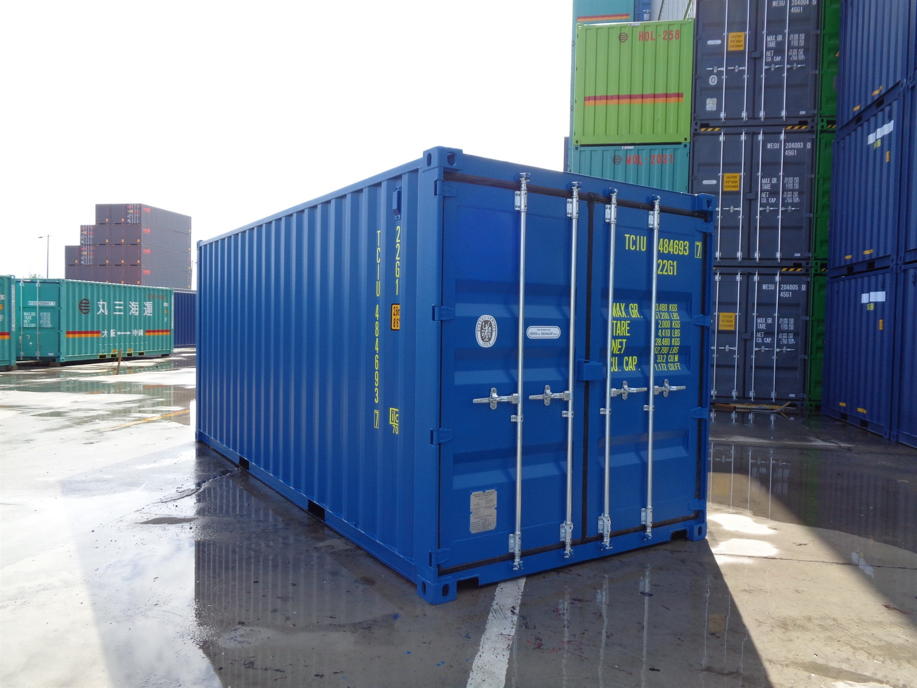 20 foot HC High Cube light blue storage container titan containers