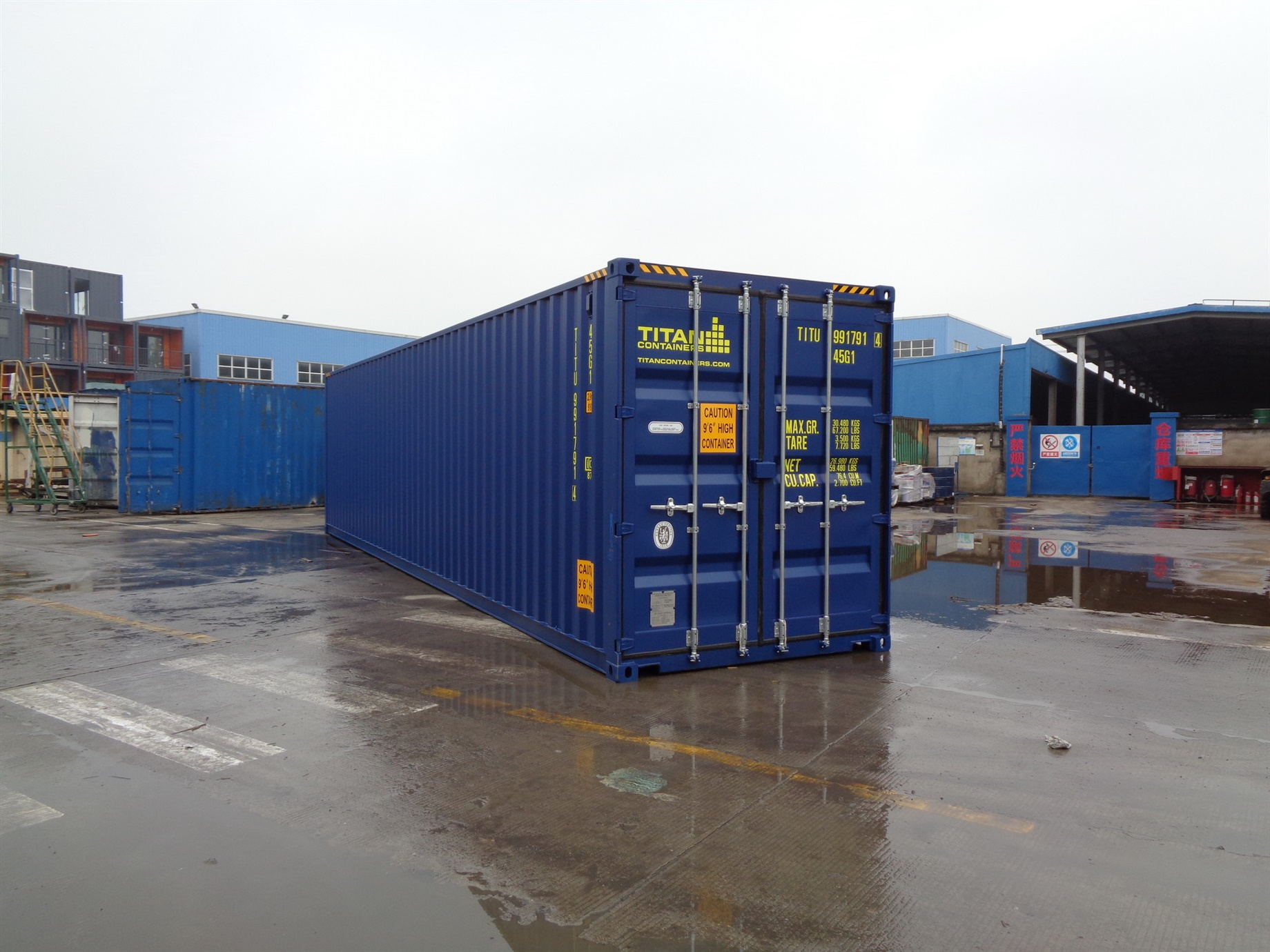 40 foot HC High Cube blue storage container titan containers