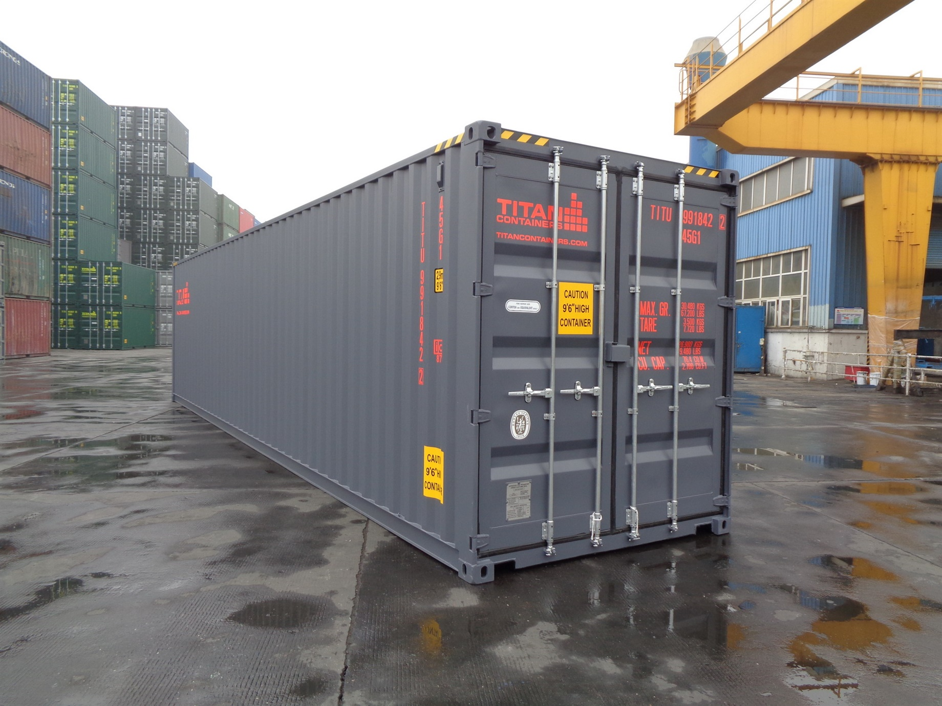 40 foot HC High Cube gray storage container titan containers