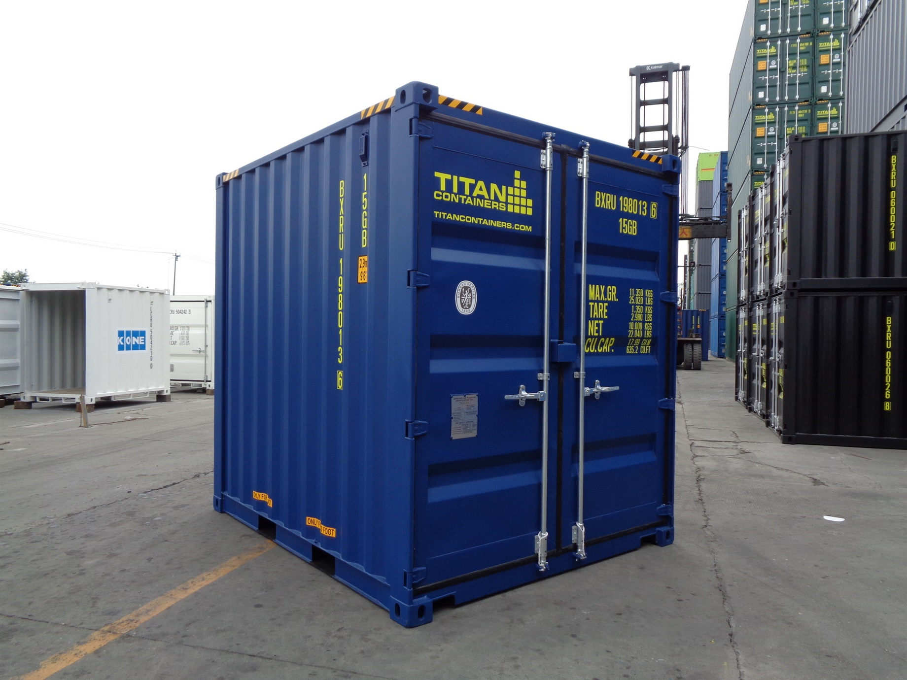 6 8 10 blue HC High Cube doors closed foot storage container TITAN Shiipping Containers