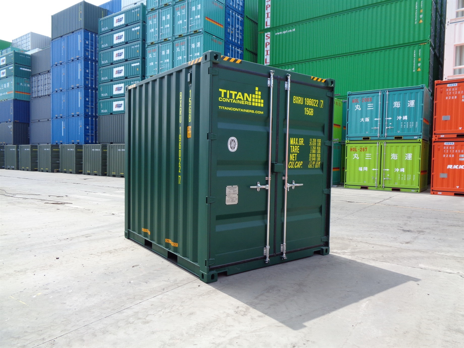 6 8 10 green HC High Cube doors closed foot storage container TITAN Shiipping Containers