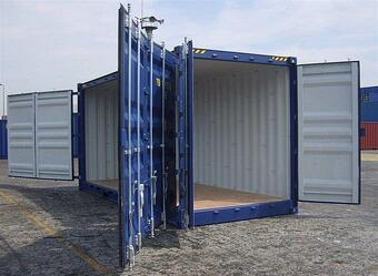 Storage Container with doors on each end 20 blue outside side door access doors open