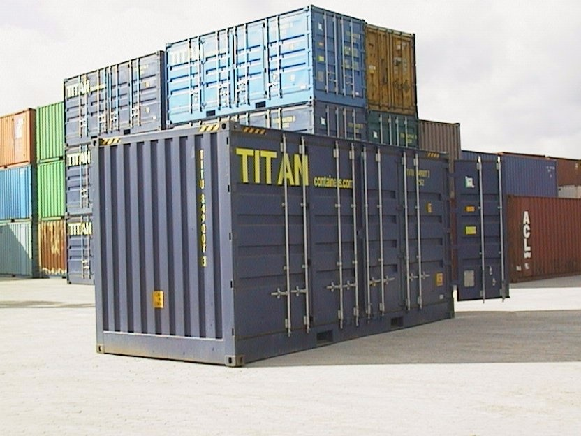 Storage Container with doors on each end 20 blue outside side door access