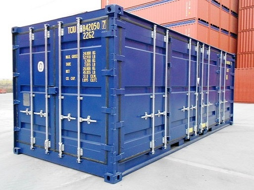 Storage Container with doors on each end 40 blue outside side door access