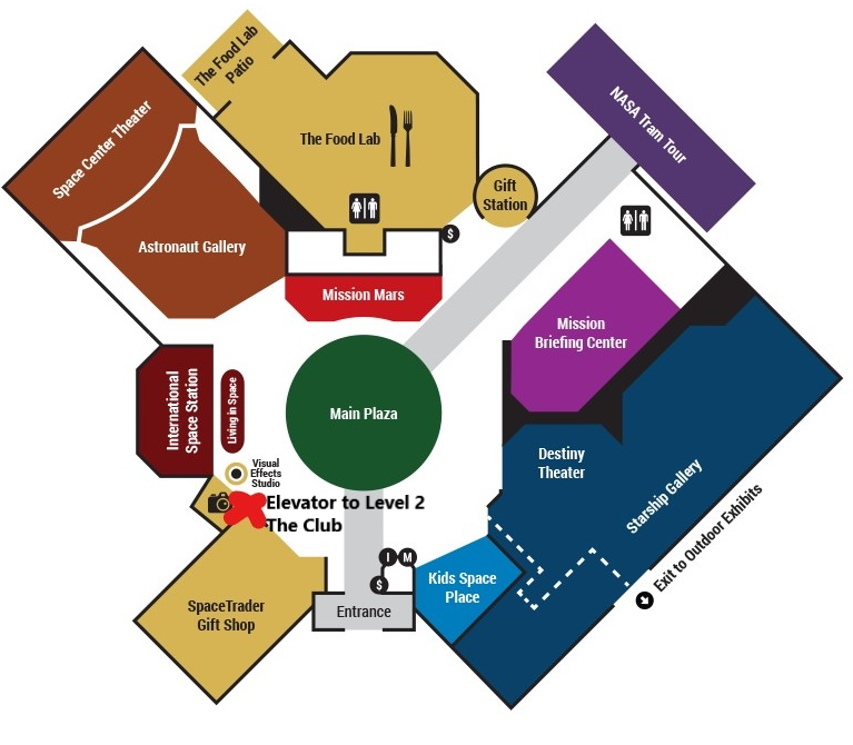 map of Space Center main floor