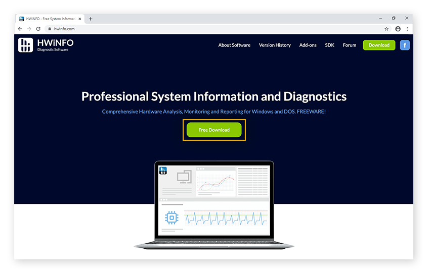 Downloading the system information and diagnostics tool HWiNFO