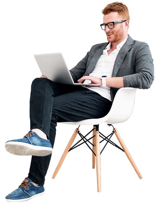 A businessman is sitting with a laptop
