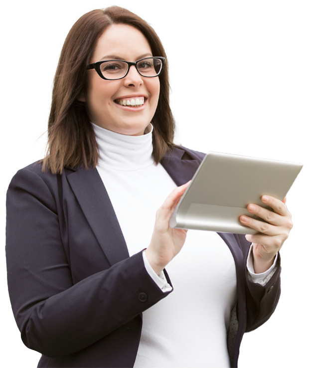Smiling woman with the tablet