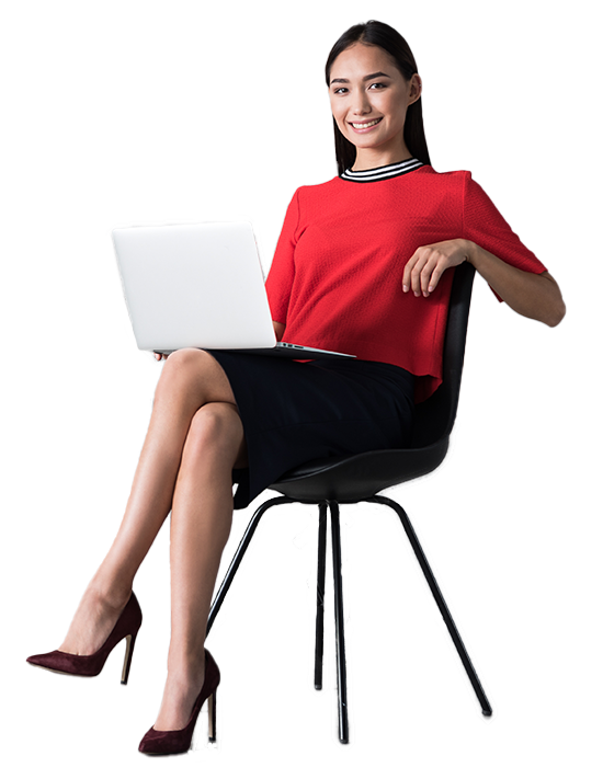 Happy business woman is sitting with a laptop