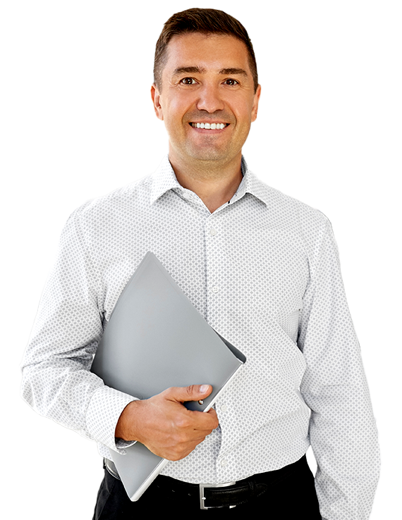 Happy expert with a laptop