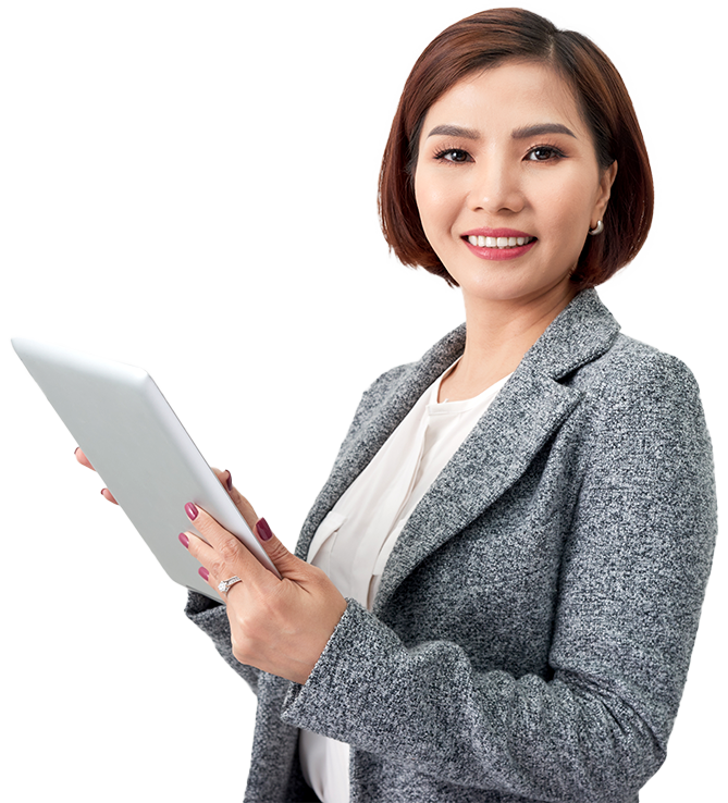 Business lady with tablet