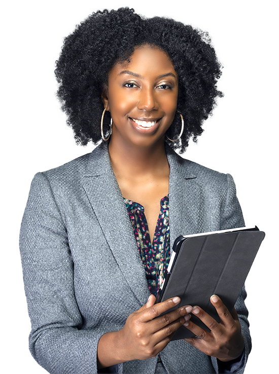 Happy financier person with tablet