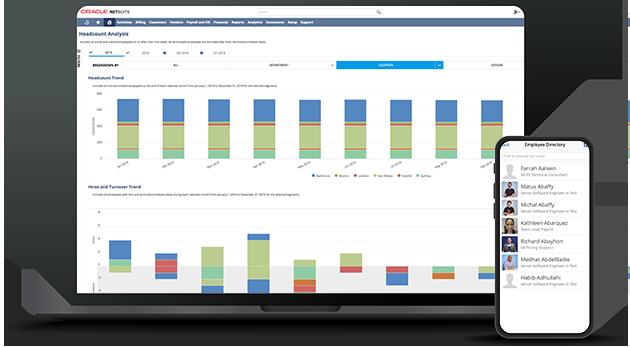 NetSuite Human Capital screenshot on the laptop