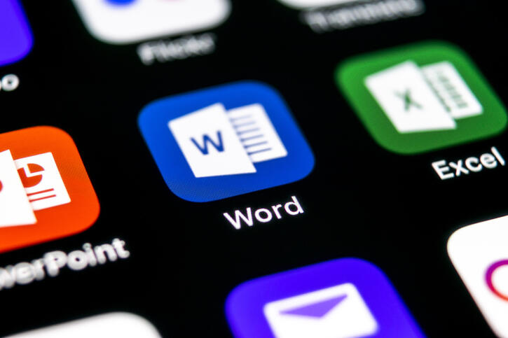 Microsoft Word application icon on Apple iPhone X screen close-up. Microsoft office word icon. Microsoft office on mobile phone. Social media