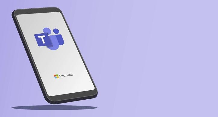 Microsoft Teams mobile application from Microsoft Corporation logo on a smartphone with solid purple background