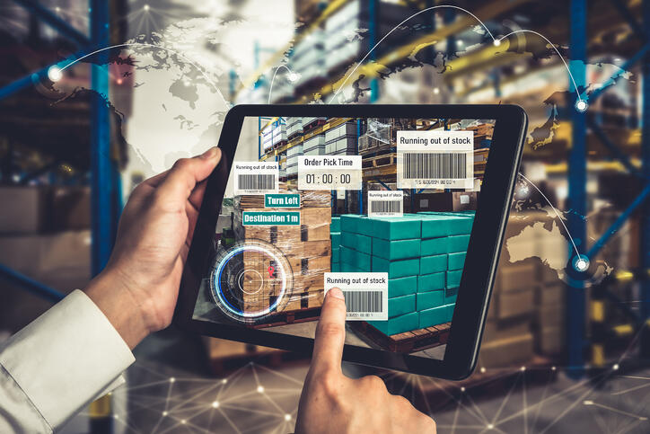 Smart warehouse management system using augmented reality technology to identify package picking and delivery. Future concept of supply chain and logistic business