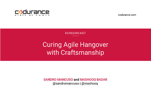 Curing Agile Hangover with Craftsmanship