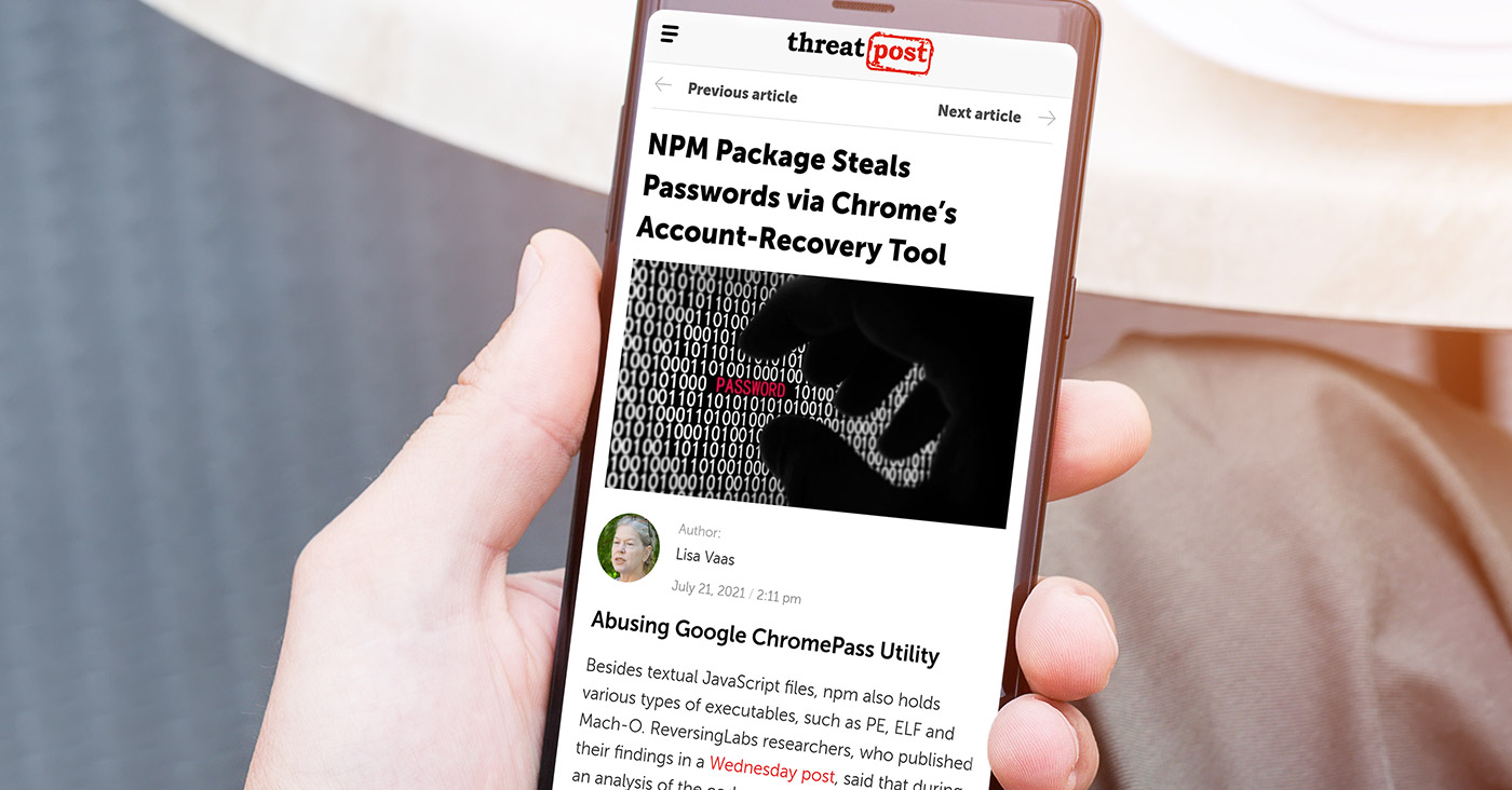 Threat Post: NPM Package Steals Passwords via Chrome's Account-Recovery Tool