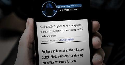 Security Affairs: SoReL-20M Sophos & ReversingLabs release 10 million disarmed samples for malware study