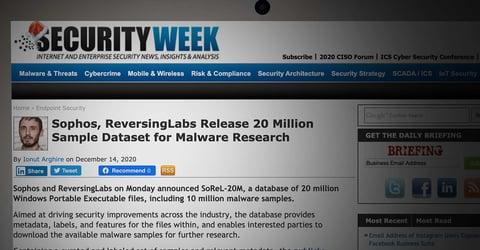 Security Week: Sophos, ReversingLabs Release 20 Million Sample Dataset for Malware Research