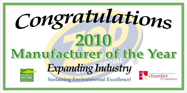 Manufacturer of the Year Sign