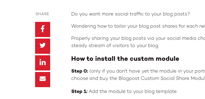 Blogpost Custom Social Share