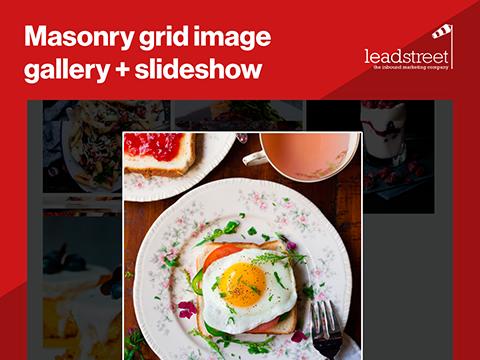Image Gallery masonry style with slideshow