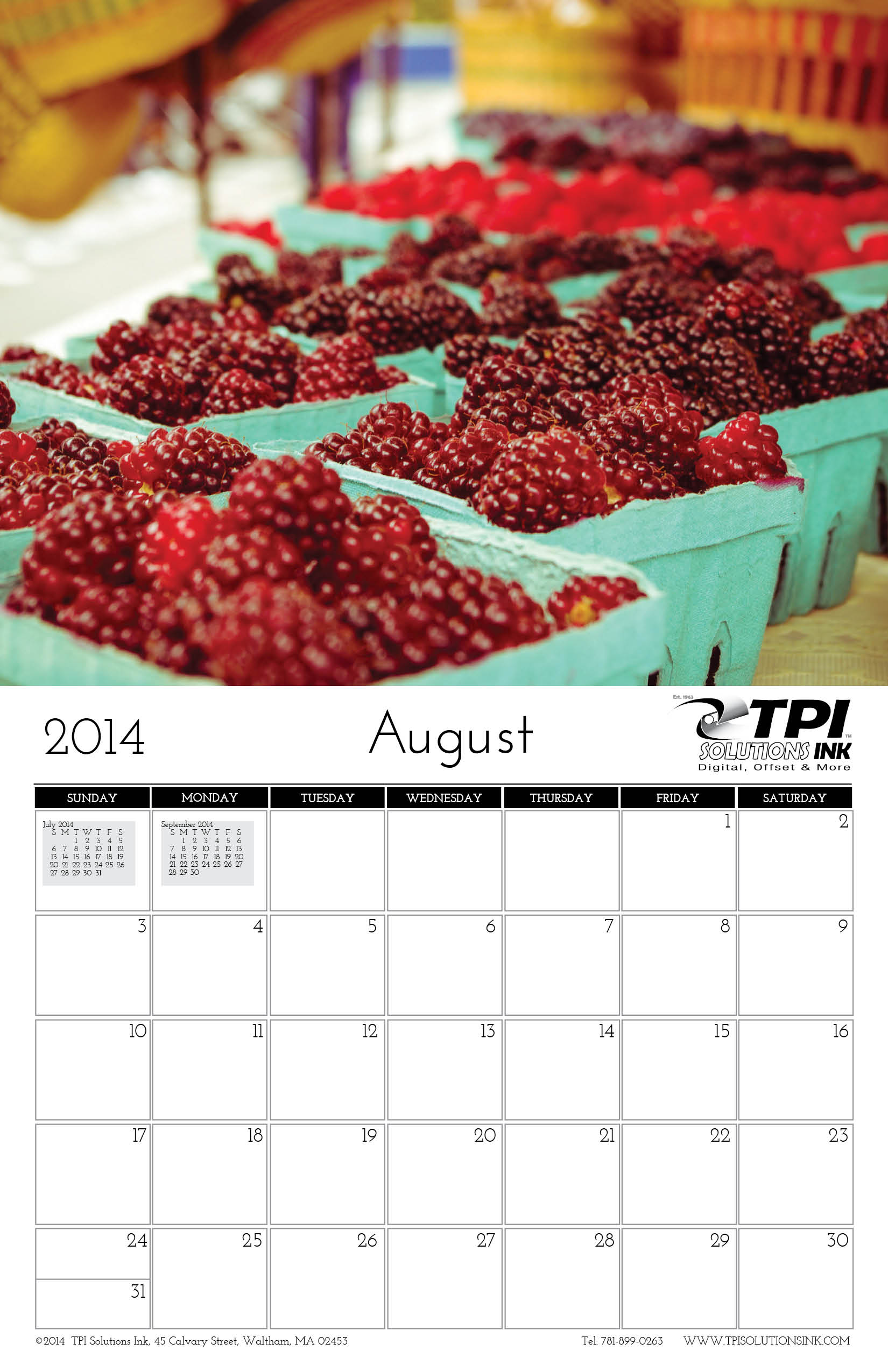 August 2014 Calendar TPI Solutions Ink